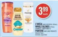 L'oréal Hair Expertise (385ml) - Whole Blends (370ml) Shampoo - Conditioner or Pantene Hair Care Products