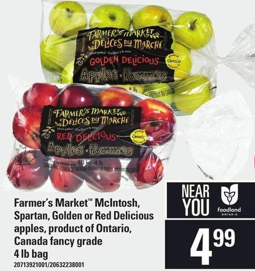 Farmer's Market Mcintosh - Spartan - Golden Or Red Delicious Apples - 4 Lb Bag