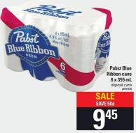 Pabst Blue Ribbon Cans - 6 X 355 Ml