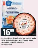 PC Blue Menu Nova Scotian Sea Scallops Jumbo 20-40 Per Lb - Frozen 400 G Or PC Shrimp Platter With Sauce Cooked - Frozen 568 G