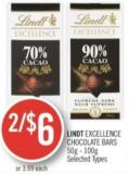Lindt Excellence Chocolate Bars 50g - 100g