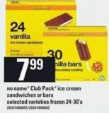 No Name Club Pack Ice Cream Sandwiches Or Bars - 24-30's
