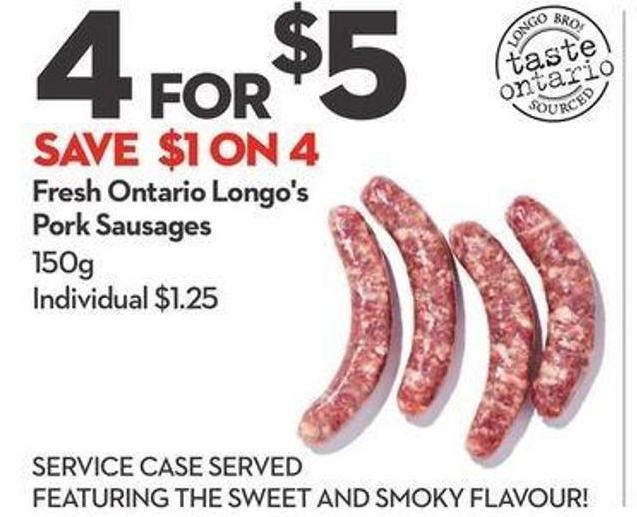 Fresh Ontario Longo's Pork Sausages