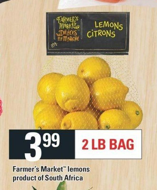 Farmer's Market Lemons - 2 Lb Bag