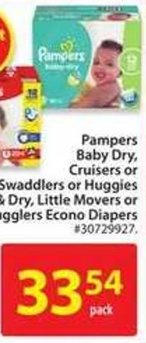 Pampers Baby Dry - Cruiser or Swaddlers Econo Diapers
