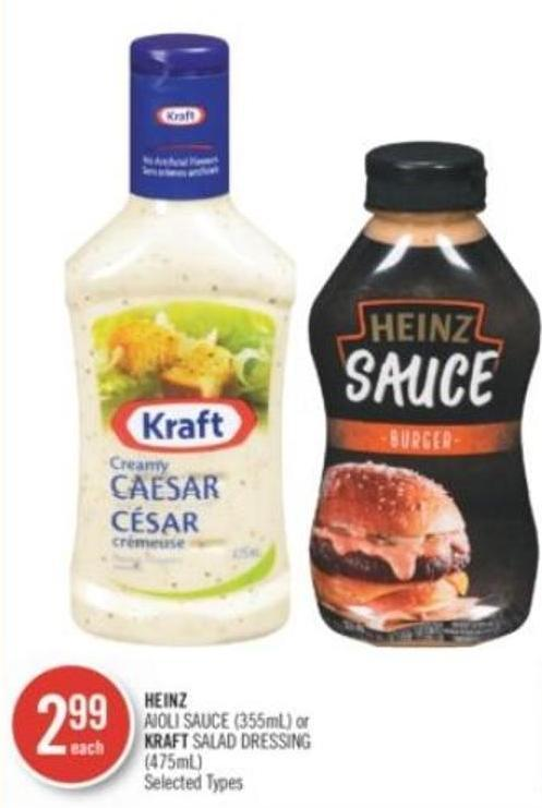 Heinz Aioli Sauce (355ml) or Kraft Salad Dressing (475ml)
