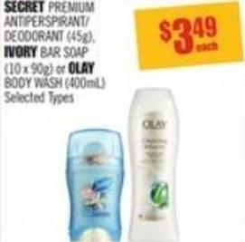 Secret Premium Antiperspirant/ Deodorant (45g) - Ivory Bar Soap (10 X 90g) or Olay Body Wash (400ml)