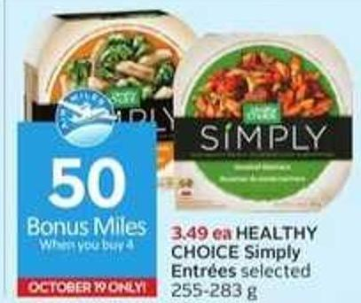 Healthy Choice Simply Entrées - 50 Air Miles Bonus Miles