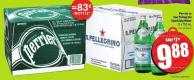 Perrier or San Pellegrino Sparkling Water 12 X 750 mL