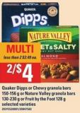 Quaker Dipps Or Chewy Granola Bars - 150-156 G Or Nature Valley Granola Bars - 130-230 G Or Fruit By The Foot - 128 G