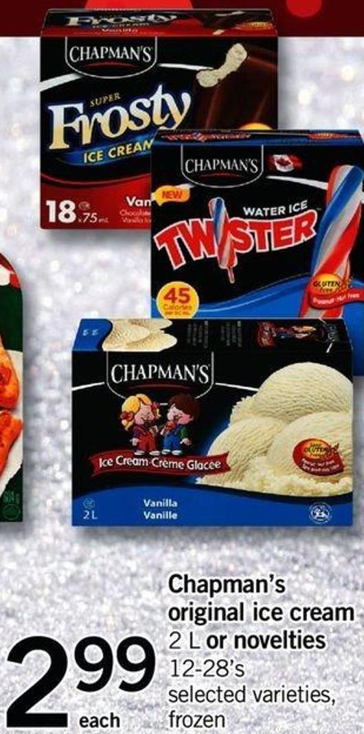 Chapman's Original Ice Cream - 2 L Or Novelties - 12-28's