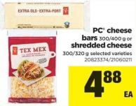 PC Cheese Bars 300-400 G Or Shredded Cheese 300/320 G