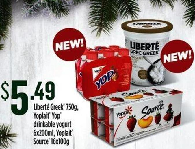 Liberté Greek - 750g - Yoplait Yop Drinkable Yogurt - 6x200ml - Yoplait Source - 16x100g