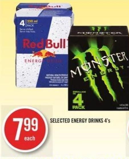 Selected Energy Drinks