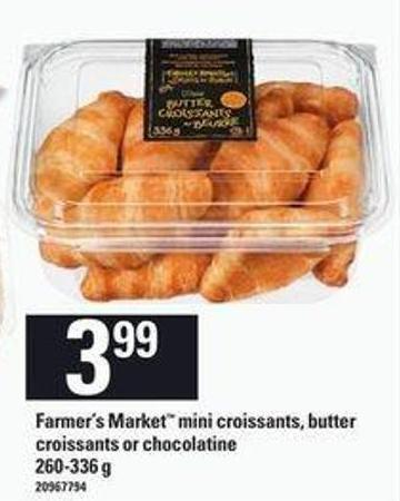 Farmer's Market Mini Croissants - Butter Croissants Or Chocolatine - 260-336 G