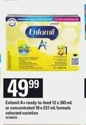 Enfamil A+ Ready-to-feed - 12 X 385 Ml Or Concentrated - 18 X 237 Ml Formula
