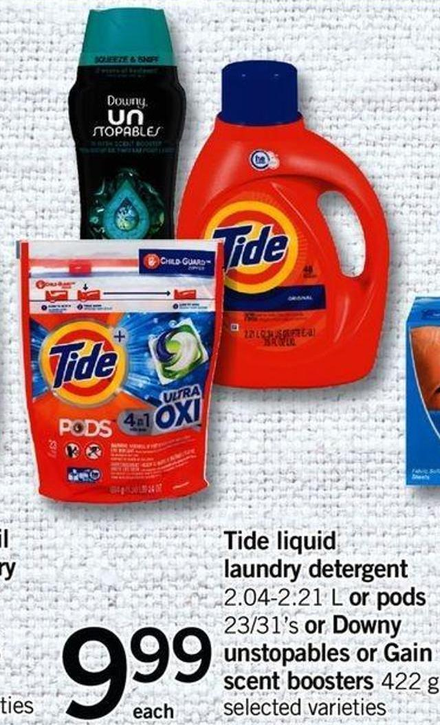 Tide Liquid Laundry Detergent - 2.04-2.21 L Or PODS - 23/31's Or Downy Unstopables Or Gain Scent Boosters - 422 G