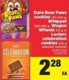 Dare Bear Paws Cookies - 140-240 G - Whippet - 200-280 G - Wagon Wheels - 315 G Or Leclerc Celebration Cookies - 240 G