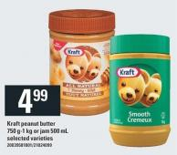 Kraft Peanut Butter 750 G-1 Kg Or Jam 500 Ml