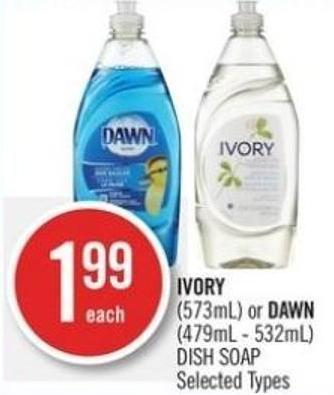 Ivory (573ml) or Dawn (479ml-532ml) Dish Soap
