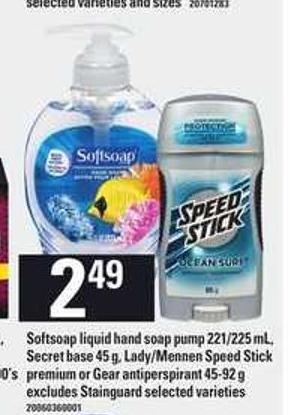 Softsoap Liquid Hand Soap Pump - 221/225 mL - Secret Base - 45 g - Lady/mennen Speed Stick Premium Or Gear Antiperspirant - 45-92 g
