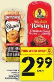 Dempster's Bagels Or Sun-maid Raisin Bread