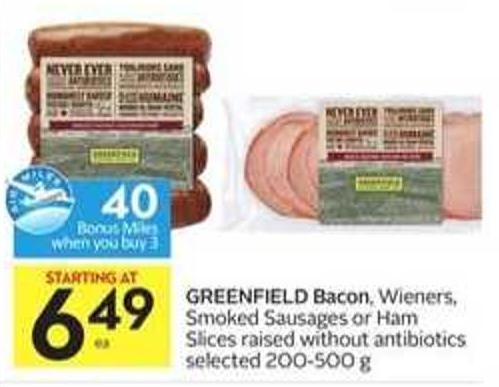 Greenfield Bacon - 40 Air Miles Bonus Miles