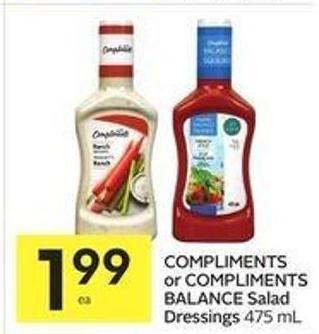 Compliments or Compliments Balance Salad Dressings