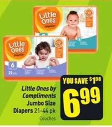 Little Ones By Compliments Jumbo Size Diapers 21-44 Pk