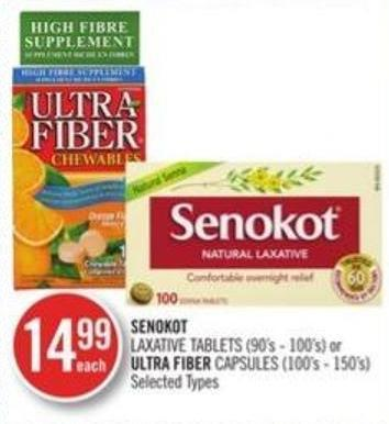 Senokot Laxative Tablets (90s-100's) or Ultra Fiber Capsules (100s-150's)