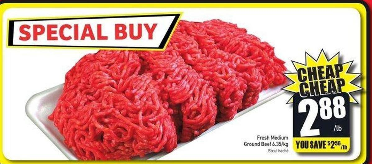 Fresh Medium Ground Beef 6.35/kg