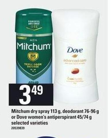 Mitchum Dry Spray - 113 g - Deodorant - 76-96 g Or Dove Women's Antiperspirant - 45/74 g
