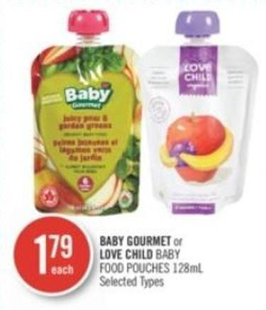 Baby Gourmet or Love Child Baby Food Pouches 128ml