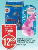 Gillette Razors 1's or Life Brand Comfort Grip Disposable Razors 18's