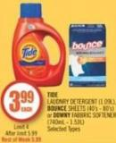 Tide Laudnry Detergent (1.09l) - Bounce Sheets (40's - 80's) or Downy Fabbric Softener (740ml - 1.53l)