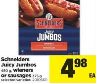 Schneiders Juicy Jumbos - 450 G - Wieners Or Sausages - 375 G