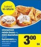 Cinnamon Raisin Buns 4's - Mini Danishes 12's Or Turnovers 6's