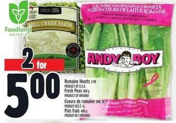 Romaine Hearts 3 Pk Product Of U.S.A. - Fresh Peas 400 g Product Of Ontario