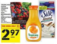 Tropicana Or Oasis Orange Juice Or Silk Beverages Or Irresistibles Fruit