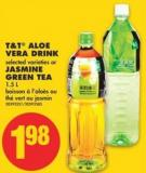 T&t Aloe Vera Drink Selected Varieties or Jasmine Green Tea - 1.5 L