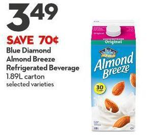 Blue Diamond  Almond Breeze  Refrigerated Beverage 1.89l Carton