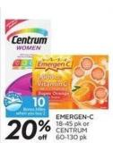 Emergen-c 18-45 Pk or Centrum 60-130 Pk - 10 Air Miles Bonus Miles