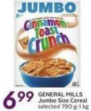 General Mills Jumbo Size Cereal