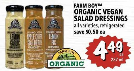 Farm Boy Organic Vegan Salad Dressings 237 ml