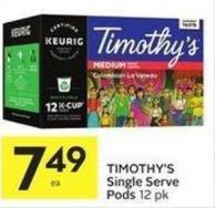 Timothy's Single Serve Pods 12 Pk