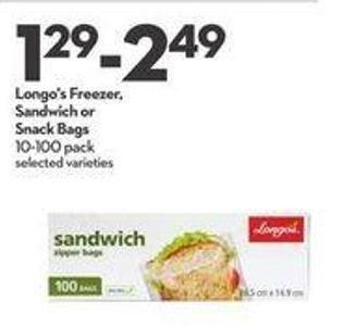 Longo's Freezer - Sandwich or Snack Bags