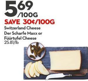 Switzerland Cheese Der Scharfe Maxx or  Füürtufel Cheese  25.81/lb