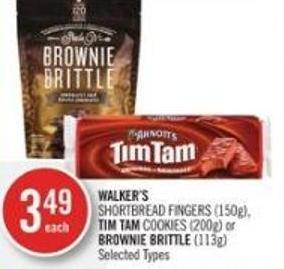 Walker's   Shortbread Fingers (150g) - Tim Tam Cookies (200g) or Brownie Brittle (113g)