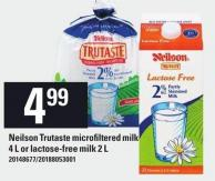 Neilson Trutaste Microfiltered Milk 4 L Or Lactose-free Milk 2 L