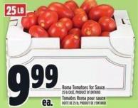 Roma Tomatoes For Sauce 25 Lb Case
